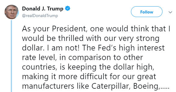 Trump not thrilled strong US dollar