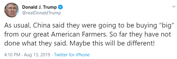 Trump hopeful for farmer relief from China