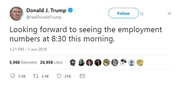 Trump tweet ahead of the NFP - the time on the Twitter screenshot is CET