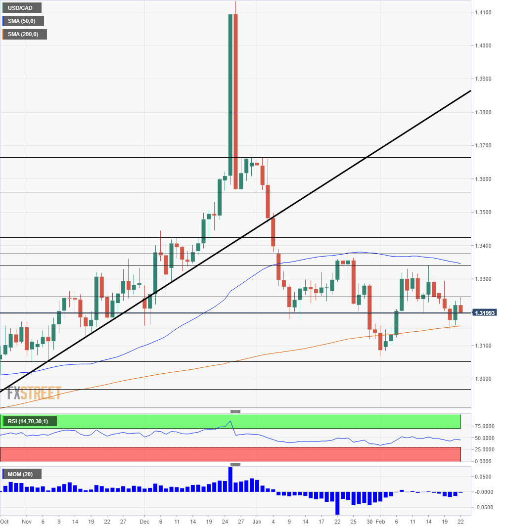 USD CAD daily chart February 25 March 1 2019