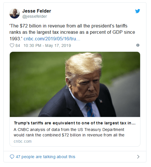 Trump Loves Collecting Taxes: Tariffs Equate To Largest